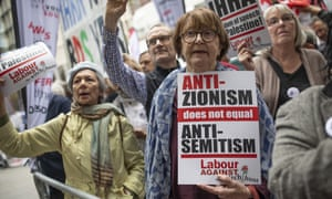 Demonstrators take part in protests outside a meeting of the National Executive of the Labour Party