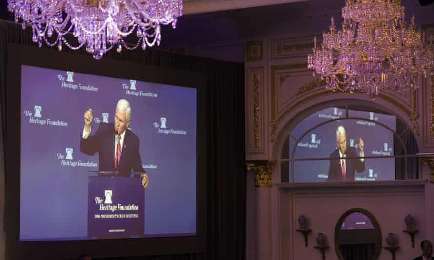 Vice President-elect Mike Pence spoke at the Heritage Foundation's annual reception, held this year at Donald Trump's new Washington DC hotel.