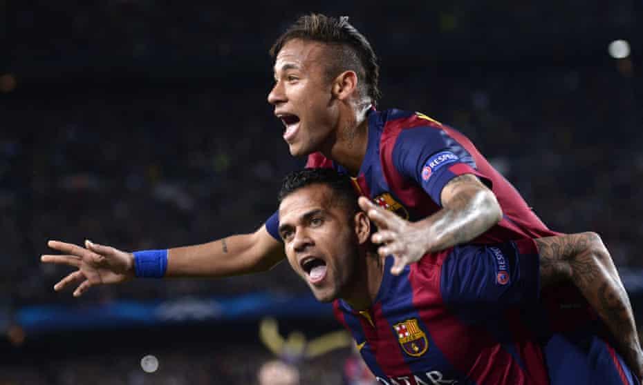 Dani Alves and Neymar at Barcelona.