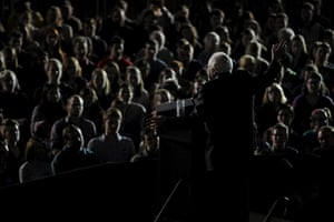 Bernie Sanders speaks at a town hall campaign event at Grinnell College in Grinnell, Iowa.