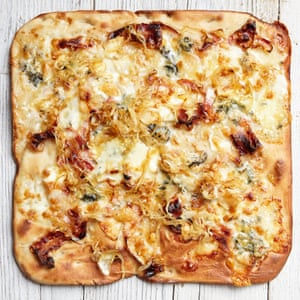 Guiseppe Mascoli and Bridget Hugo's blue cheese and onion tray pizza.