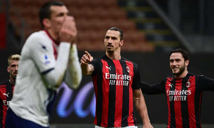 Zlatan Ibrahimovic celebrates his second goal for Milan in their 4-0 victory against Crotone.