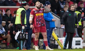 Joe Marler waits for the verdict from the TMO before being sent off during Harlequins' defeat at Sale