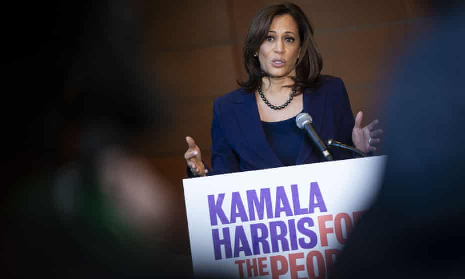 Kamala Harris speaks to reporters after announcing her candidacy for president.