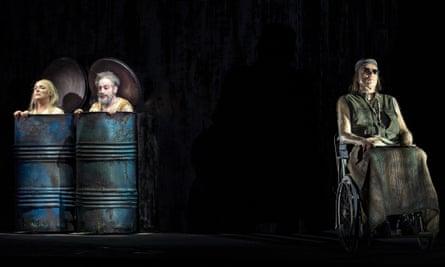 Hilary Sanders (Nell), Leonardo Cortellazzi (Nagg) and Frode Olsen (Hamm) in the world premiere of Kurtag's Fin de Partie at the La Scala opera house, Milan.