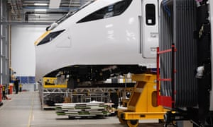 A new Intercity Express train being constructed at Hitachi Rail Europe's factory in Newton Aycliffe, United Kingdom.