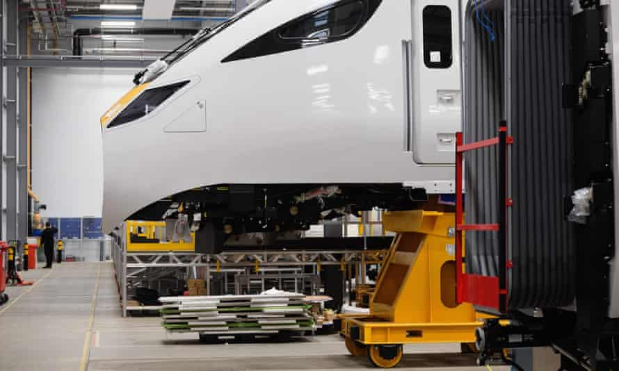 Work is carried out on the new Intercity Express trains at the Hitachi site in Newton Aycliffe.