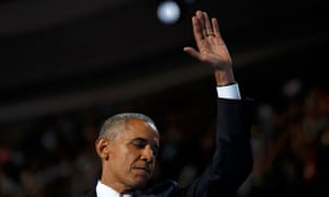 President Obama waves to the audience after speaking on the third night of the 2016 Democratic National Convention in Philadelphia,Pennsylvania.