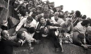 The riot at Heysel Stadium, Belgium, in 1985.