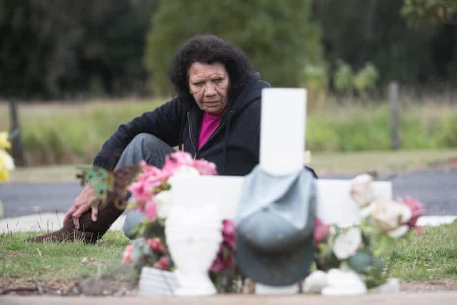 Leetona Dungay, David's mother, at his grave