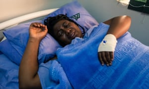 Joana Mamombe, one of three women who say they were tortured and sexually assaulted by the security forces, in hospital in Harare