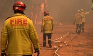 Fire crews battle a blaze in the Blue Mountains on Tuesday