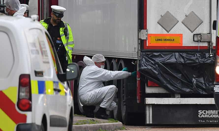 Forensic officers work on lorry