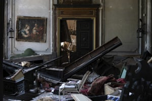 Damaged furniture in a room