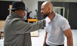 Wendell Pierce and Arinzé Kene in rehearsal for Death of a Salesman at the Young. Pierce plays Willy Loman and Kene plays his son Biff.