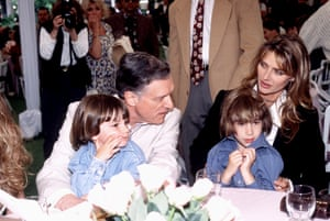 Hefner with his second wife Kimberley Conrad and sons in 1995