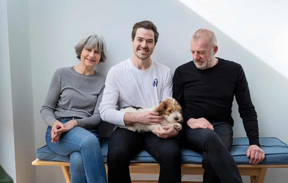 Nic Bestley with his mum, Chrissie Bestley, and his stepdad, Neil Weatherburn