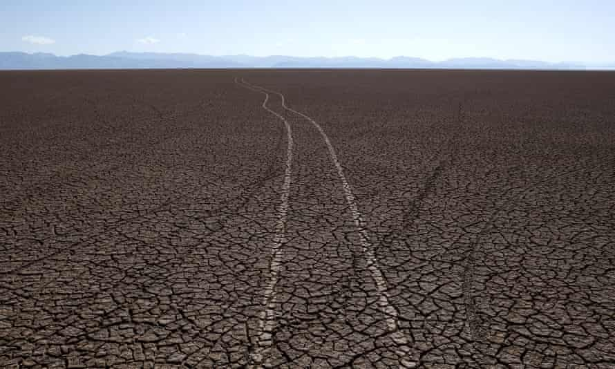Tyre tracks mark the dry bed of Lake Poopó after it was declared evaporated in December.