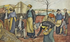 A detail from Winifred Knights's The Potato Harvest, (1918).