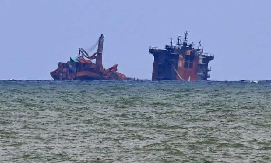 The partially sunken MV X-Press Pearl