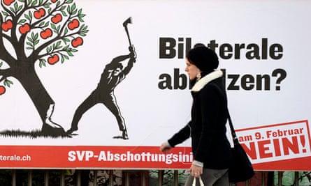 2014 anti-immigration poster in Switzerland