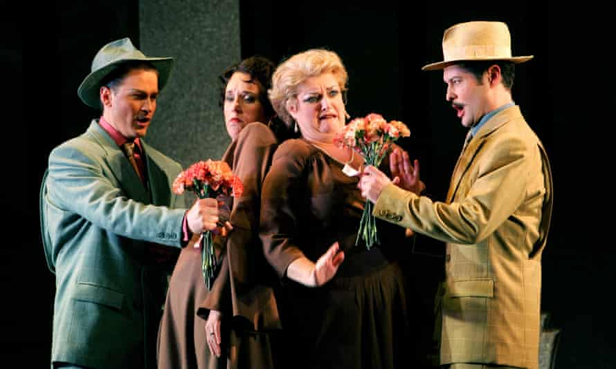 Gregory Turay, Anne Marie Gibbons, Cara O'Sullivan and Mark Stone in a 2005 production of the opera at the Coliseum.
