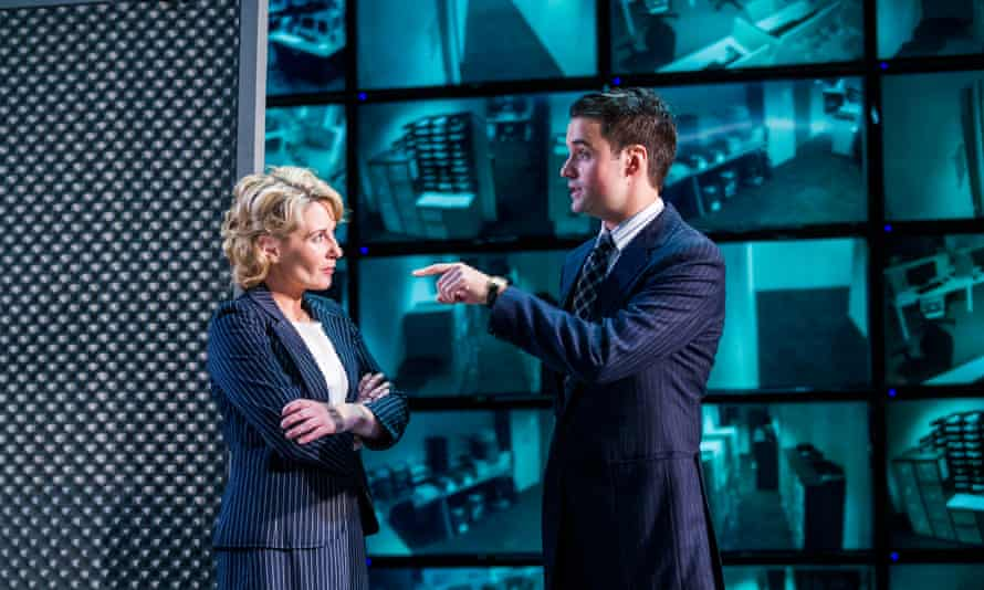 Lisa Dillon in the title role and Edward Hancock as Merryweather in Tom Stoppard's Hapgood at Hampstead theatre.
