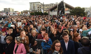 A large crowd gathered on Wellington's waterfront
