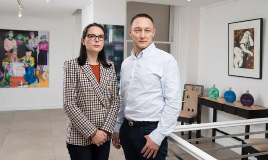 The Mayfair art dealer, Elena Shchukina, and husband Ildar Uzbekov. Her father, the mining magnate Alexander Shchukin, was charged with extortion and is currently under house arrest in Russia