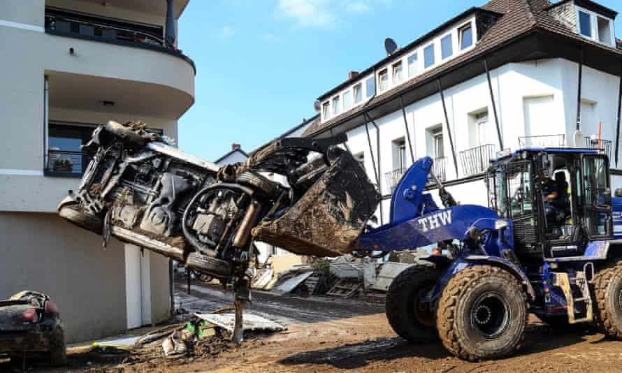 A Technisches Hilfswerk vehicle in Bad Neuenahr-Ahrweiler last week moves a car caught up in the floods that hit parts of Germany