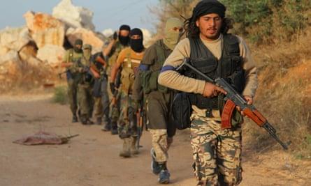 Al-Nusra Front members near the northwestern Syrian city of Ariha.
