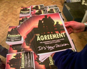 Copies of the Northern Ireland peace agreement are put on display on 11 April 1998.