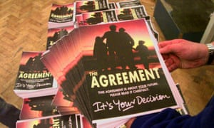 Copies of the Good Friday agreement are put on display on 11 April 1998