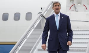 US secretary of state John Kerry arrives at London's Stansted airport.