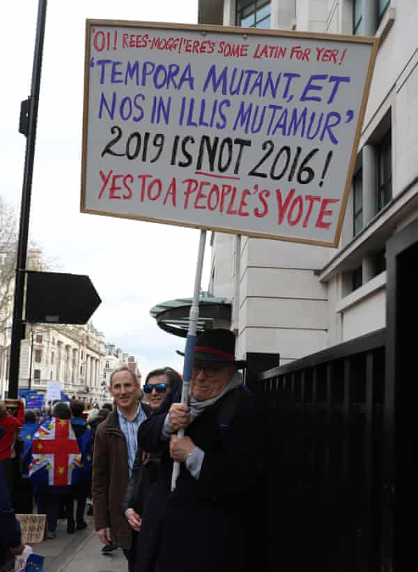 Changing times … an anti-Brexit protester in March.
