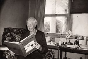 Norman Lindsay with a copy of his book The Magic Pudding, which celebrated its 100th anniversary in 2018