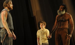 Nathaniel Dean, Toby Challenor and Trevor Jamieson in Sydney Theatre Company's The Secret River.