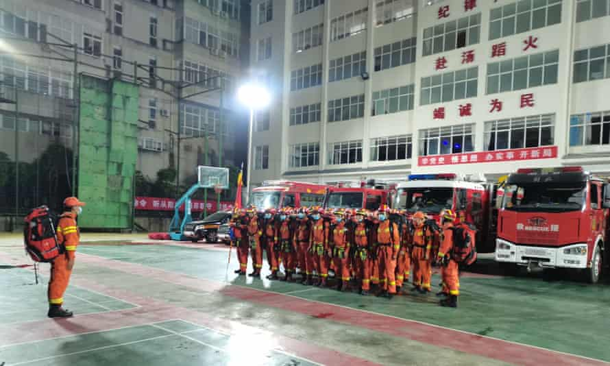 Rescue team at fire station