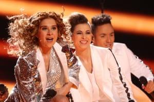 Singer Laura Tesoro (L) representing Belgium performs 'What's the Pressure'