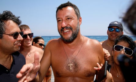 Matteo Salvini meets supporters at the beach in the Sicilian town of Taormina.