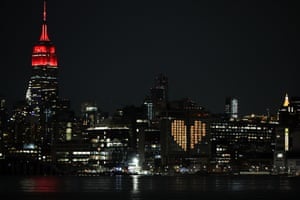 The Empire State Building is illuminated to honour emergency healthcare workers in New York