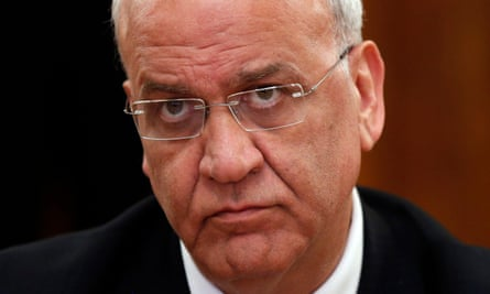 Saeb Erekat, pictured in 2017, was a senior adviser to the Palestinian president, Mahmoud Abbas.