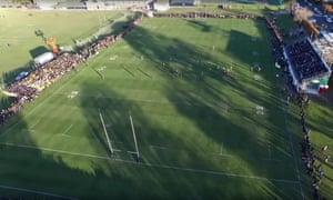 An aerial view of a Christchurch boys' high match.