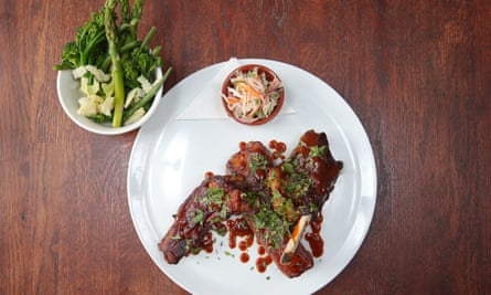 'Full of depth and intensity and care': ribs with green veg.