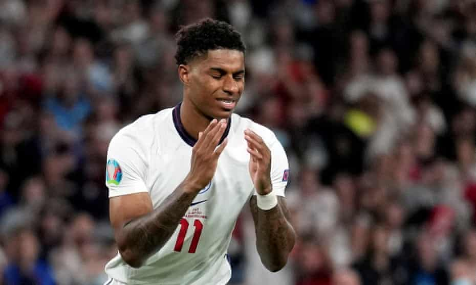 Marcus Rashford after missing his penalty during the England-Italy Euro 2020 final.