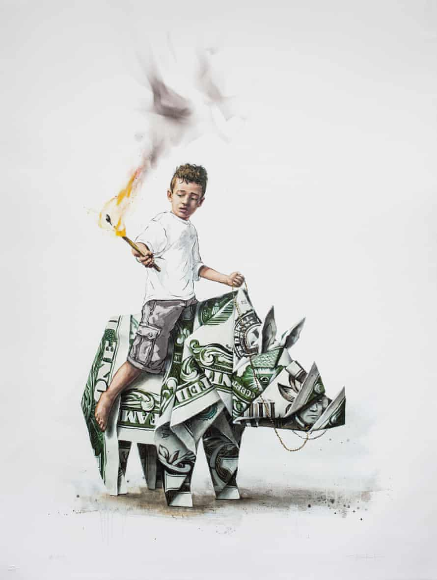 Splash and Burn depicts a young boy wielding a burning match as he sits astride a rhino folded from a dollar bill