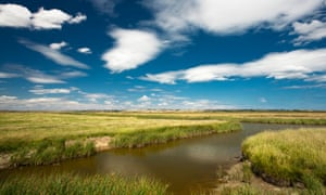 Creeks at Elmley Marshes Nature Reserve on the Isle of Sheppey, Kent