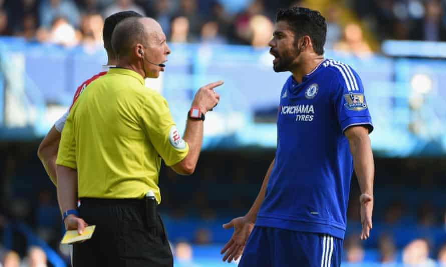 Diego Costa and referee Mike Dean
