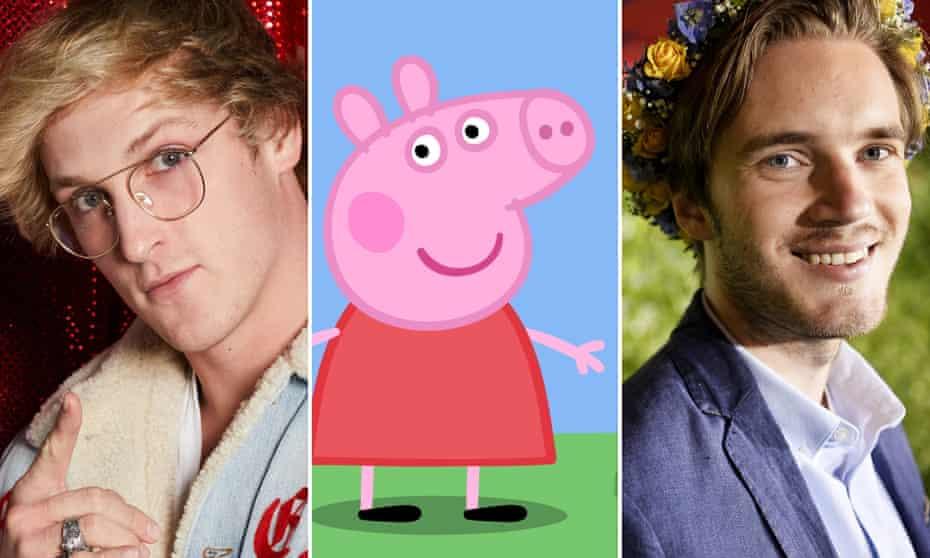 The new stars ... Logan Paul, Peppa Pig parodies and PewDiePie.
