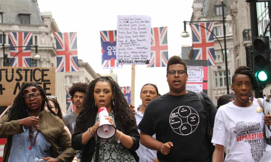 Spreading the word: Black Lives Matter protesters on Oxford Street.